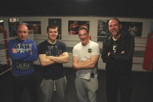From left to right, Tony Devlin (director) Paddy Gallagher (professional boxer), Gerard McManus and Gerard Jordan (actor).