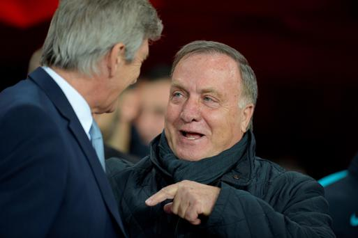 Sunderland's manager Dick Advocaat (right) greets Manchester City's Manuel Pellegrini