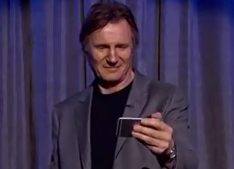 Liam Neeson reads mean tweets about himself. Pic Jimmy Kimmel Live