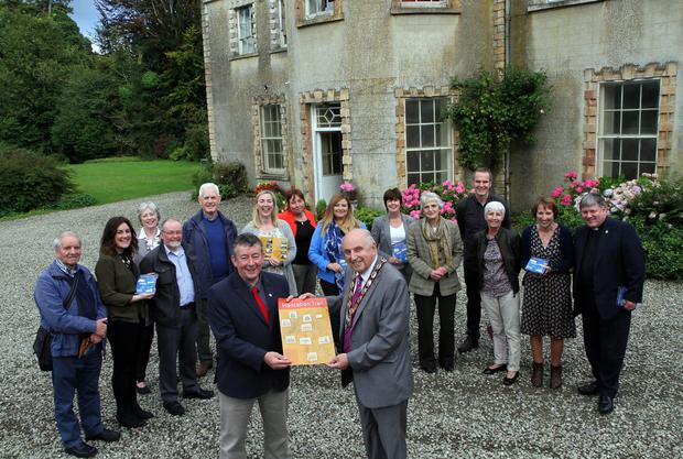 Deputy Mayor of Derry Alderman Thomas Kerrigan and Paul McGarvey, chairman of the Foyle Civic Trust, at Ashbrook House for the launch of the Plantation Villages and Houses Rural Heritage Trail, with council and local representatives and members of Foyle Civic Trust