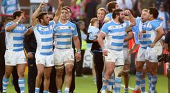 Argentina's players celebrate after winning a Pool C match of the 2015 Rugby World Cup between Argentina and Georgia at Kingsholm stadium in Gloucester, west England, on September 25, 2015. AFP/Getty Images