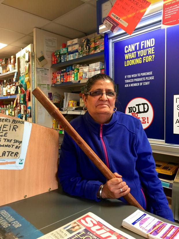 Sharinder Gill, 66, who frightened off armed robbers wearing Scream masks at Shergill Stores, Arnold, Nottinghamshire on Wednesday. Alex Britton/PA Wire.