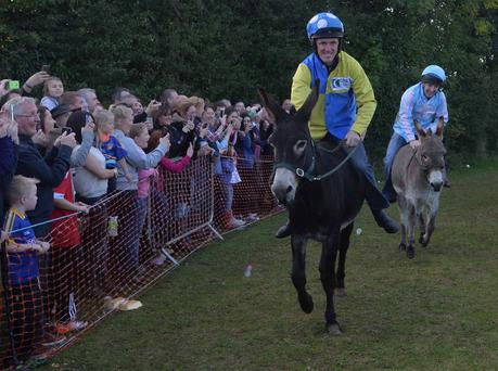 Tony McCoy had to make do with second place in the donkey derby. Pic: Colm Lenaghan/Pacemaker Press.