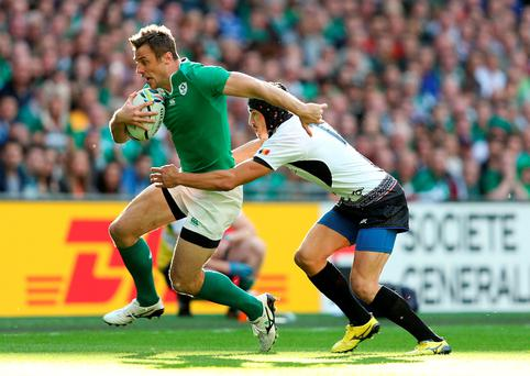 Ireland's Tommy Bowe during the Rugby World Cup match at Wembley Stadium, London. David Davies/PA Wire.