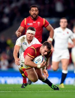 Crashing over: Wales ace Gareth Davies crosses the line to score a try against England at Twickenham