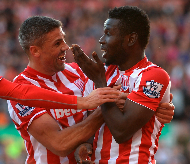 Winner: Mame Biram Diouf celebrates with Jon Walters