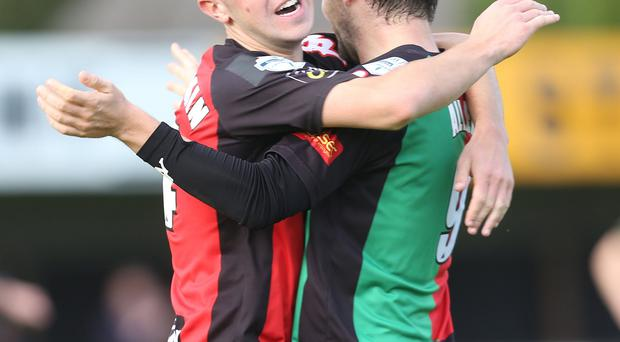 In on the act: Curtis Allen celebrates Glentoran's fourth