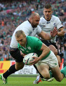 Showing up well: Ireland's Keith Earls was one of the stand-out performers as they eased past Romania