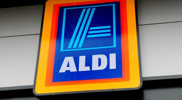 Aldi supermarket logo, as the discount retailer has reported a fall in profits as the supermarket price war took its toll on earnings despite sales surging to a new record level. (Rui Vieira/PA Wire)