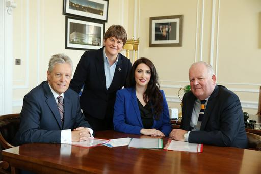 Emma Pengelly at Parliament Buildings, Stormont with First Minister Peter Robinson, Arlene Foster and Jimmy Spratt. Picture by Kelvin Boyes / Press Eye.