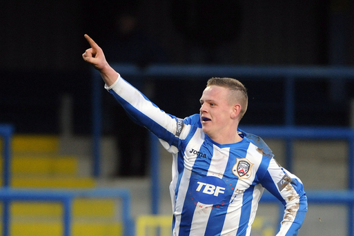 Aaron Canning in action for Coleraine.