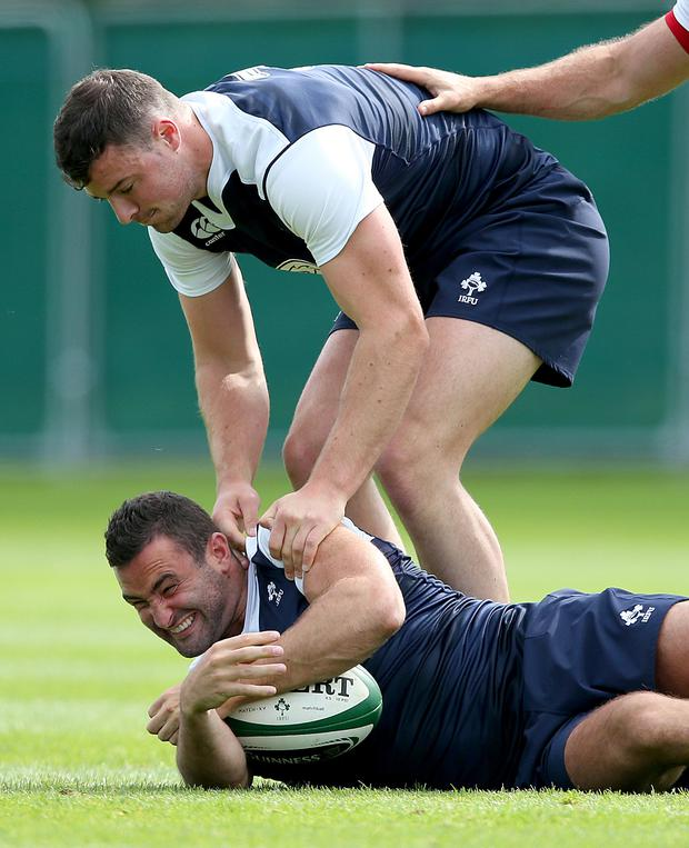 Raring to go again: Robbie Henshaw and Dave Kearney are expected to be unleashed on Italy this weekend