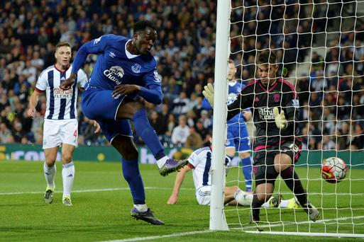 Back of the net: Romelu Lukaku completes the fightback with his second goal to give Everton a 3-2 victory