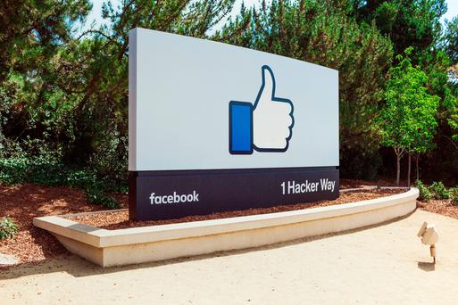 Facebook signage outside the main entrance to their HQ in California. (Facebook/PA Wire)