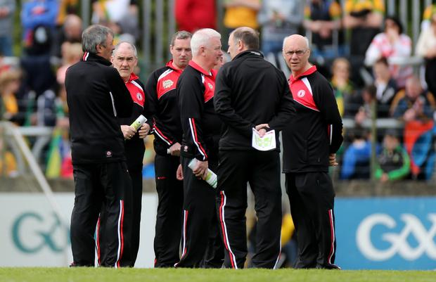 Numbers game: Mickey Harte and his backroom staff ahead of a clash with Donegal in Ballybofey