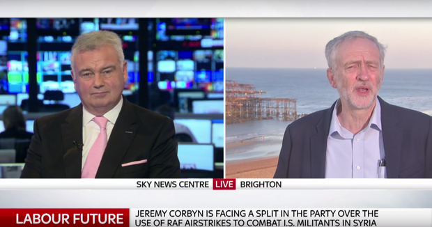 Jeremy Corbyn and Eamon Holmes on Sky News.