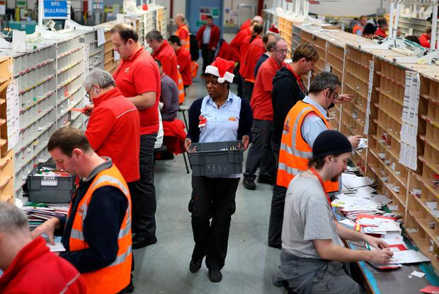 Royal Mail's Glasgow mail centre, as Royal Mail has announced plans to recruit 19,000 workers to help deal with the seasonal increase in post and parcels. (Andrew Milligan/PA Wire)