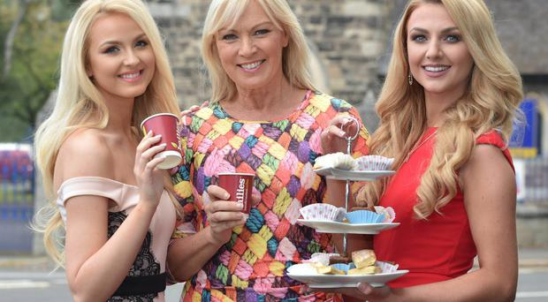(L-R) Miss NI Leanne McDowell, Alison Clarke and Meagan Greene at this mornings Big Coffee Break held at the offices of ACA Models on the Beersbridge Road. (Simon Graham/Harrison Photography)