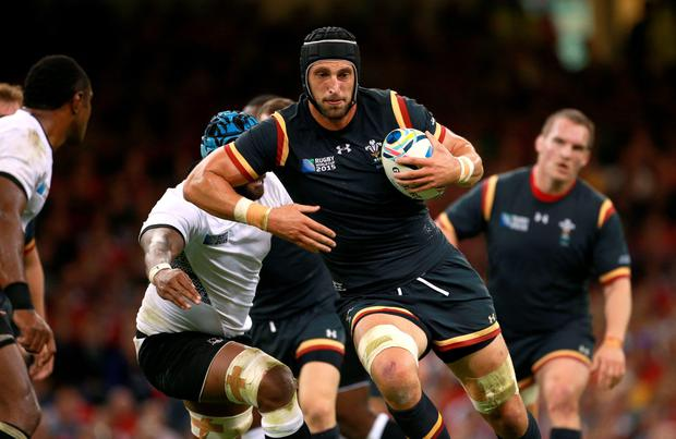 Wales' Luke Charteris in action during the Rugby World Cup match at the Millennium Stadium, Cardiff. PRESS ASSOCIATION