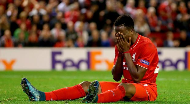 Liverpool's Divock Origi looks dejected during the UEFA Europa League match at Anfield, Liverpool. Peter Byrne/PA Wire.