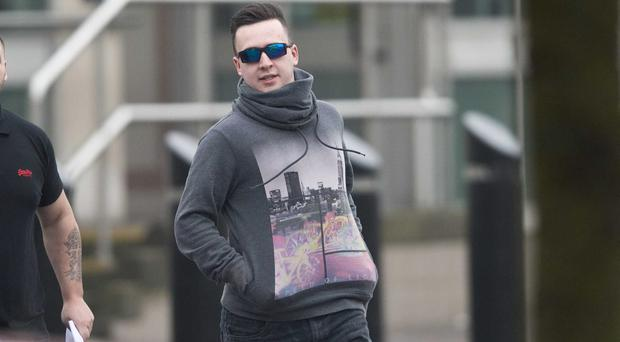 Pacemaker press 02/10/15 Padraig O'Neill [wearing sunglasses ] leave's Newtownards court house. Picture Pacemaker press