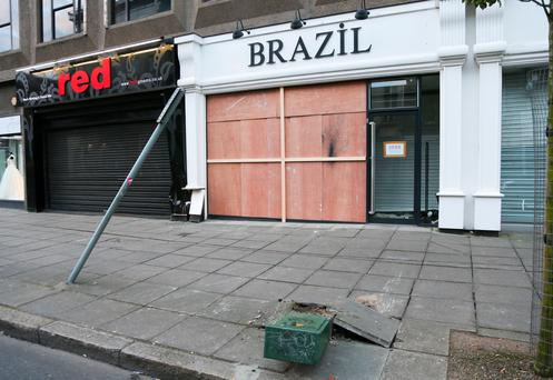 The shop on Wellington Place which was rammed with a Volkswagen saloon on Sunday. Pic: Kevin Scott/Presseye.