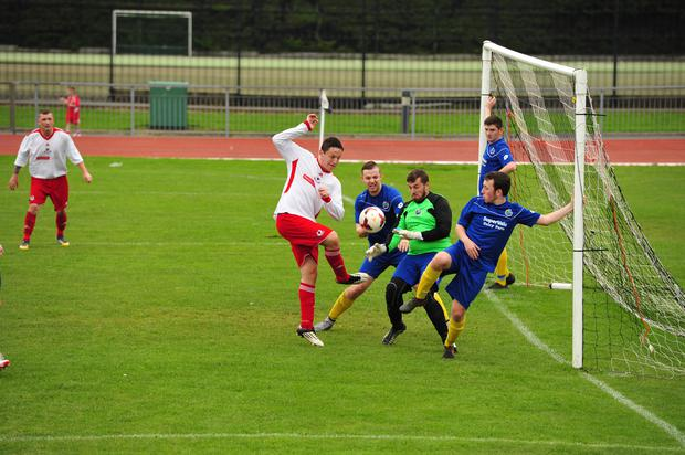 Action from Bangor YM v Colin Valley II (pic by Joe McEwan)
