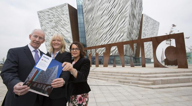 Conal Harvey, deputy chair Titanic Belfast, Nicky Dunn, chair of Titanic Foundation and Jackie Henry of Deloitte, pictured outside Titanic Belfast