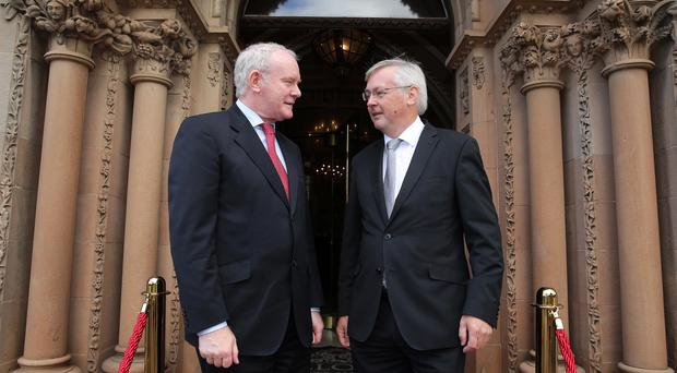 Deputy First Minister Martin McGuinness and CBI Northern Ireland Chair, Colin Walsh pictured at the CBI Annual Lunch at the Culloden Hotel