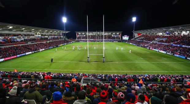 Sport via Presseye - Kevin Scott / INPHO Friday 27th February 2015 - Kingspan Stadium in South Belfast General views of the Kingspan Rugby Stadium in South Belfast, home of Ulster Rugby. Pictured is the Premium stand, the grandstand and the family stand Picture - Kevin Scott / Presseye / INPHO