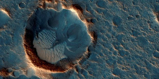 Undated handout photo from Nasa's Mars Reconnaissance Orbiter showing the Acidalia Planitia region of Mars depicted in the new movie The Martian. Photo: NASA/JPL-Caltech/Univ. of Arizona