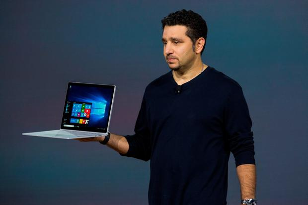 Microsoft Corporate Vice President Panos Panay introduces a new laptop titled the Microsoft Surface Book at a media event for new Microsoft products on October 6, 2015 in New York City. Microsoft also unveiled a virtual reality head set titled the HoloLens, a phone titled the Lumia 950, a tablet titled the Surface Pro 4 and a biometrics wristband titled the Band 2. (Photo by Andrew Burton/Getty Images)