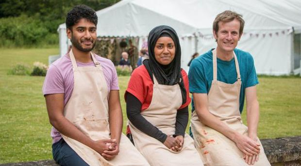 This year's Great British Bake Off finalists Tamal (L), Nadiya (C) and Ian (R)