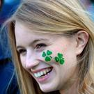 An Irish fan smiles before a Pool D match of the 2015 Rugby World Cup between Ireland and Italy at the Olympic Stadium, east London, on October 4, 2015.