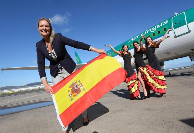 Andrea Hunter, Business Development Manager of Aer Lingus NI celebrates the new route launch with three Spanish senoritas, representing the three Spanish routes including Alicante, Malaga and Palma all flown by Aer Lingus out of George Best Belfast City Airport
