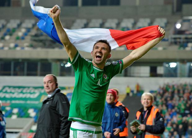 BELFAST, NORTHERN IRELAND - OCTOBER 8: Gareth McAuley of Northern Ireland celebrates after this evenings Euro 2016 Group F international football match at Windsor Park on October 8, 2015 in Belfast, Northern Ireland. (Photo by Charles McQuillan/Getty Images)