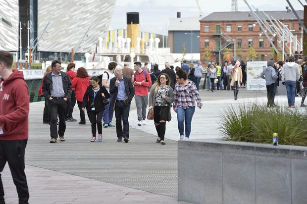 Press Eye - Belfast - Northern Ireland - 9th October 2015 Belfast Metropolitan College at Titanic Quarter has been evacuated after a security alert.The college was to be used for a Police recruitment drive over the weekend. Picture by Stephen Hamilton /Press Eye.com
