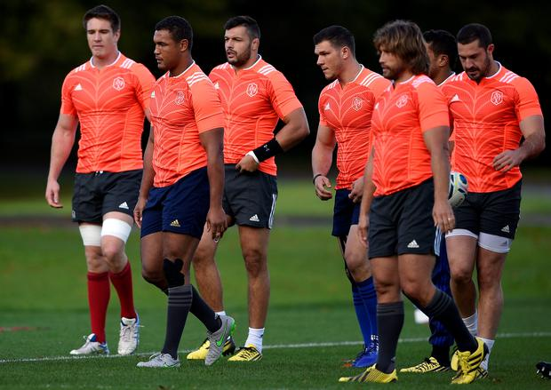 Tough test: members of the France sqaud in training for their vital World Cup clash against Ireland