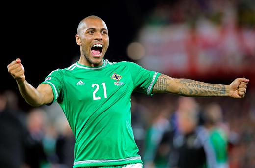 Picture perfect: Josh Magennis was on target against Greece