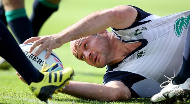 Eye on ball: Rory Best, in training yesterday, says Iain Henderson will make a huge impact tomorrow