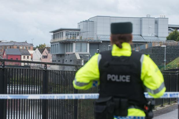 A police officer at a cordon around the Strule Arts Centre in Omagh yesterday