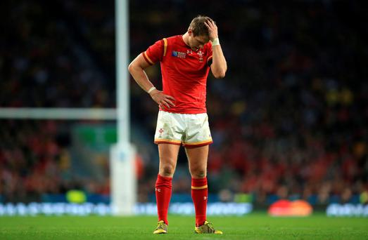 Wales' Dan Biggar dejected during the Rugby World Cup match at Twickenham Stadium, London. PRESS ASSOCIATION