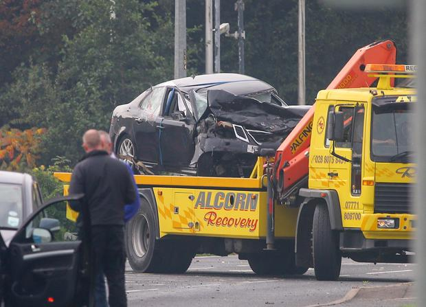 Scene of a fatal crash on the Dromore Road which claimed the life of a 49-year-old man.