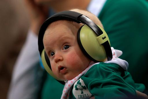 A young Ireland fan watches from the stands during the Rugby World Cup match at Millennium Stadium, Cardiff. Photo: PA