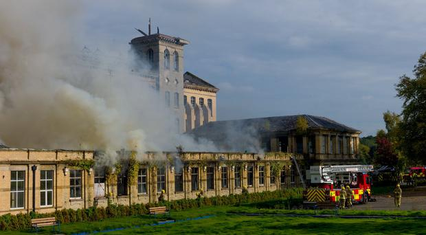 Fire at Herdman's Mill in Sion Mills which was sold to lottery winner Margaret Loughrey July 2014. Pic: Raymond McCarron