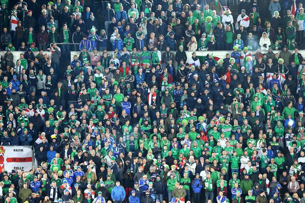 Northern Ireland fans during Sunday's UEFA Euro 2016 Qualifier against Finland at at the Helsingin Olympiastadion in Helsinki. Presseye.