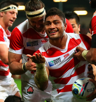 Historic day: Amanaki Mafi celebrates his try
