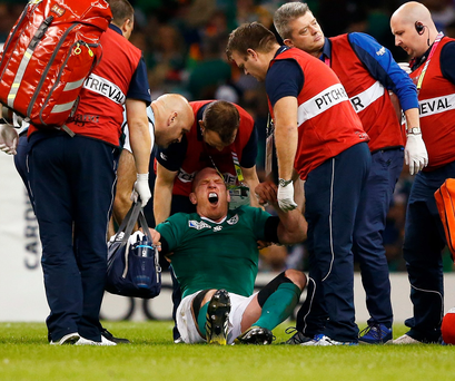CARDIFF, WALES - OCTOBER 11: Paul O'Connell of Ireland reacts as he receives medical treatment during the 2015 Rugby World Cup Pool D match between France and Ireland at Millennium Stadium on October 11, 2015 in Cardiff, United Kingdom. (Photo by Stu Forster/Getty Images)