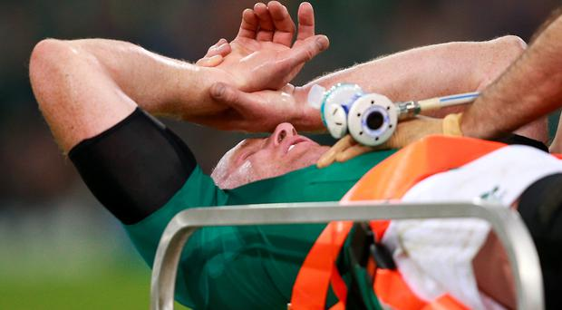 Paul O'Connell is stretchered off