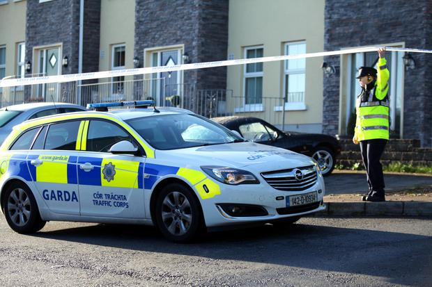 Police at the scene of the murder-suicide in Omeath, Co Louth, where Garda Tony Golden was shot dead. Pic Pacemaker